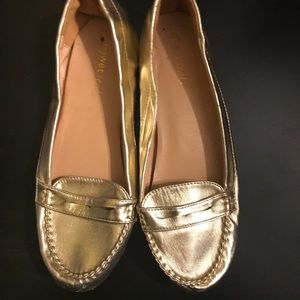 Gold penny loafers